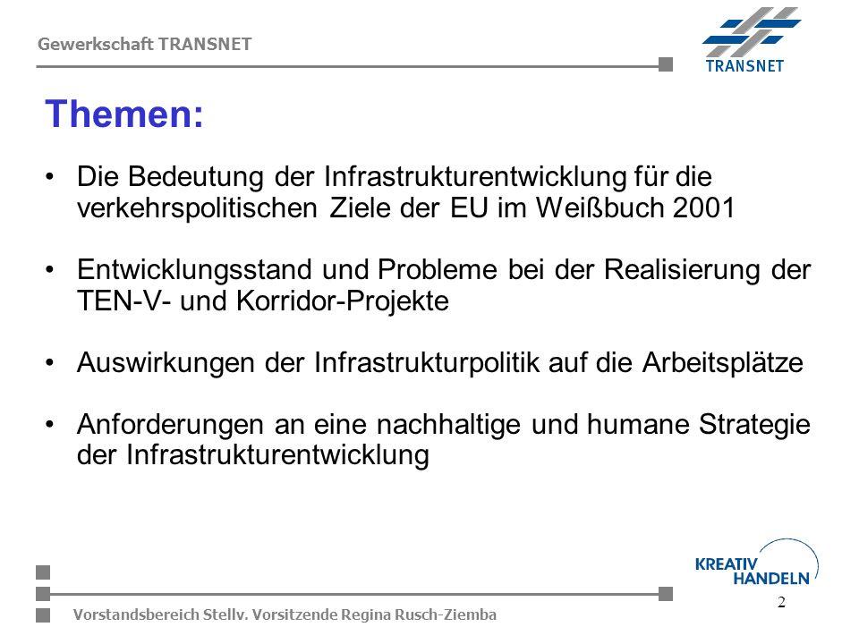 2 Vorstandsbereich Stellv. Vorsitzende Regina Rusch-Ziemba Gewerkschaft TRANSNET Die Bedeutung der Infrastrukturentwicklung für die verkehrspolitische