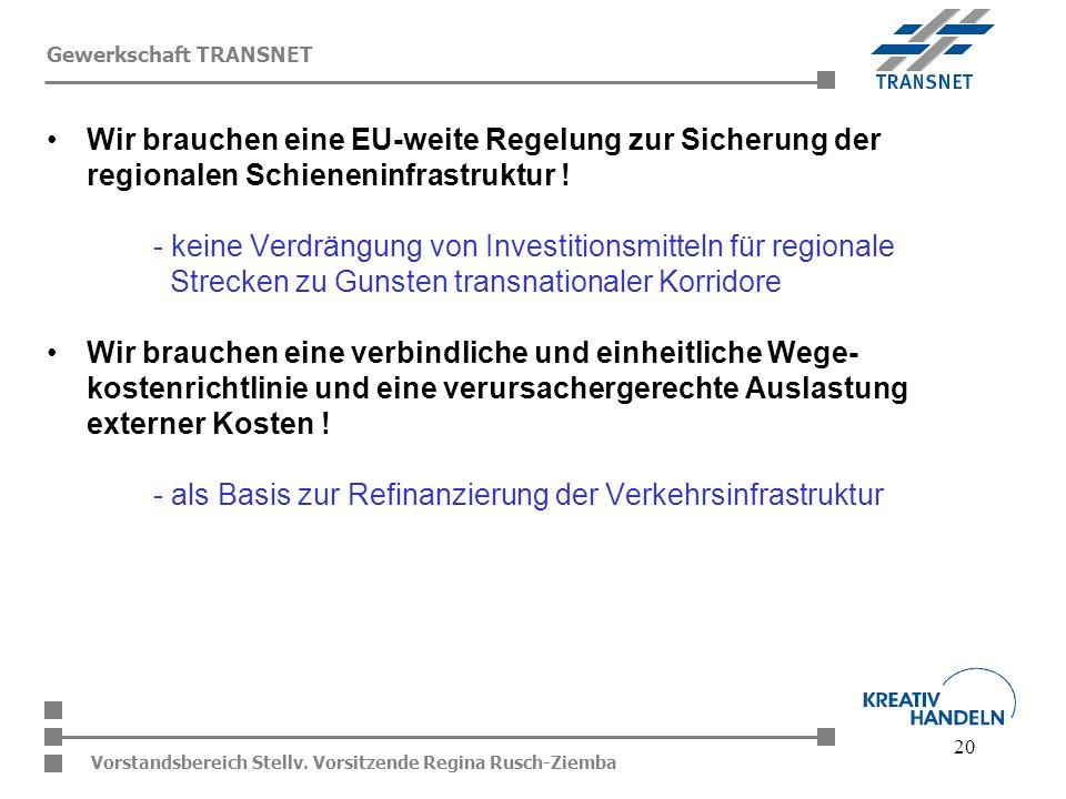 20 Vorstandsbereich Stellv. Vorsitzende Regina Rusch-Ziemba Gewerkschaft TRANSNET Wir brauchen eine EU-weite Regelung zur Sicherung der regionalen Sch