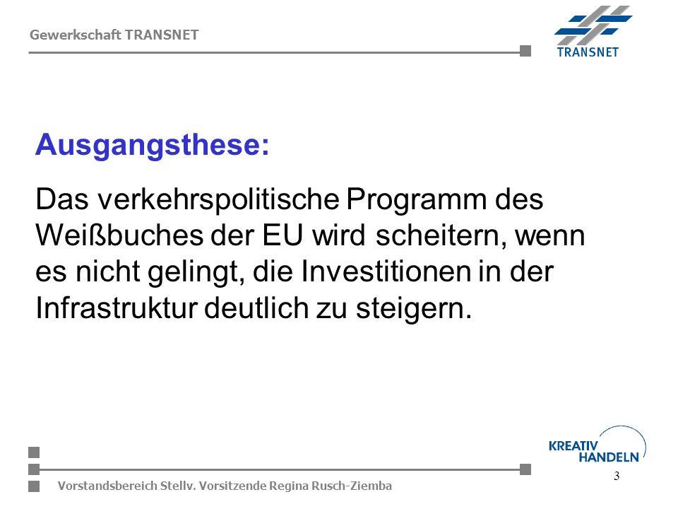 3 Vorstandsbereich Stellv. Vorsitzende Regina Rusch-Ziemba Gewerkschaft TRANSNET Ausgangsthese: Das verkehrspolitische Programm des Weißbuches der EU