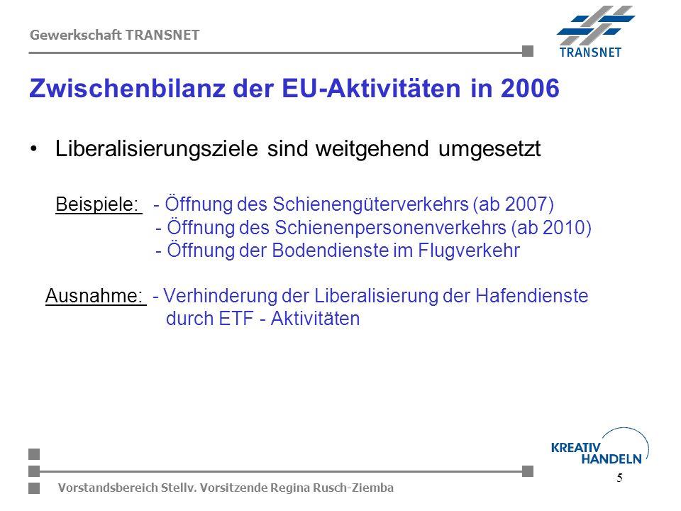 5 Vorstandsbereich Stellv. Vorsitzende Regina Rusch-Ziemba Gewerkschaft TRANSNET Liberalisierungsziele sind weitgehend umgesetzt Beispiele: - Öffnung