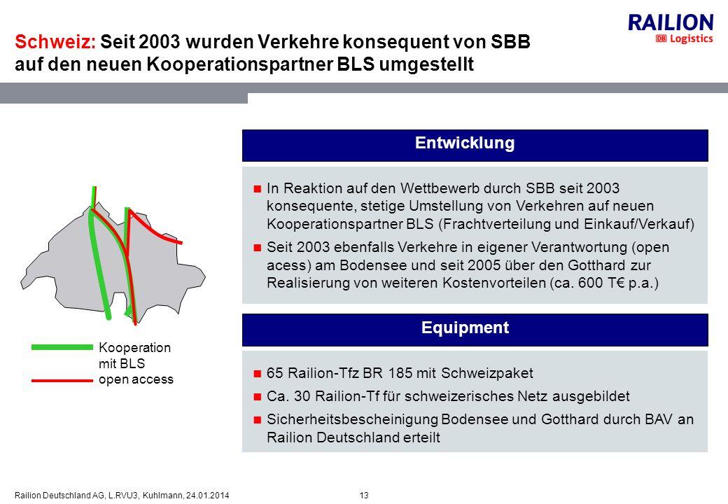 13Railion Deutschland AG, L.RVU3, Kuhlmann, 24.01.2014 Kooperation mit BLS open access In Reaktion auf den Wettbewerb durch SBB seit 2003 konsequente,