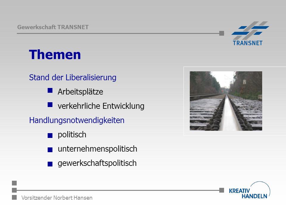 Gewerkschaft TRANSNET Vorsitzender Norbert Hansen Themen Stand der Liberalisierung Arbeitsplätze verkehrliche Entwicklung Handlungsnotwendigkeiten politisch unternehmenspolitisch gewerkschaftspolitisch