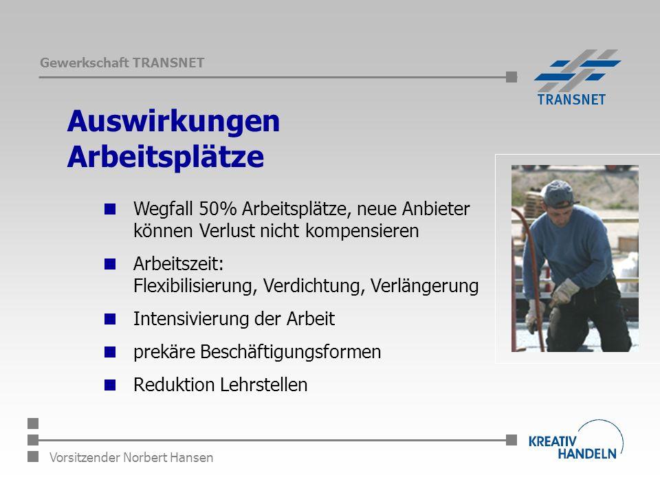 Gewerkschaft TRANSNET Vorsitzender Norbert Hansen Auswirkungen Arbeitsplätze Wegfall 50% Arbeitsplätze, neue Anbieter können Verlust nicht kompensieren Arbeitszeit: Flexibilisierung, Verdichtung, Verlängerung Intensivierung der Arbeit prekäre Beschäftigungsformen Reduktion Lehrstellen