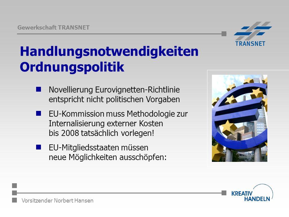 Gewerkschaft TRANSNET Vorsitzender Norbert Hansen Handlungsnotwendigkeiten Ordnungspolitik Novellierung Eurovignetten-Richtlinie entspricht nicht politischen Vorgaben EU-Kommission muss Methodologie zur Internalisierung externer Kosten bis 2008 tatsächlich vorlegen.