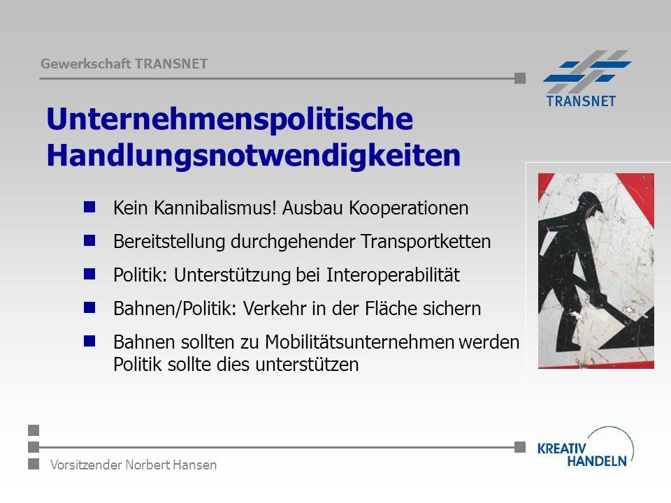 Gewerkschaft TRANSNET Vorsitzender Norbert Hansen Unternehmenspolitische Handlungsnotwendigkeiten Kein Kannibalismus.