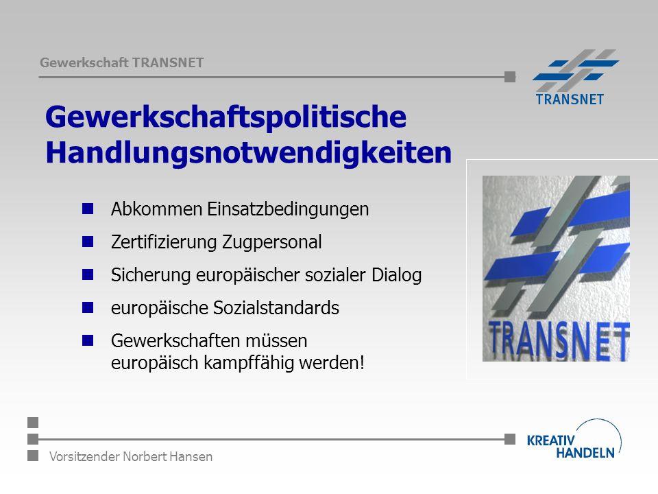 Gewerkschaft TRANSNET Vorsitzender Norbert Hansen Gewerkschaftspolitische Handlungsnotwendigkeiten Abkommen Einsatzbedingungen Zertifizierung Zugpersonal Sicherung europäischer sozialer Dialog europäische Sozialstandards Gewerkschaften müssen europäisch kampffähig werden!