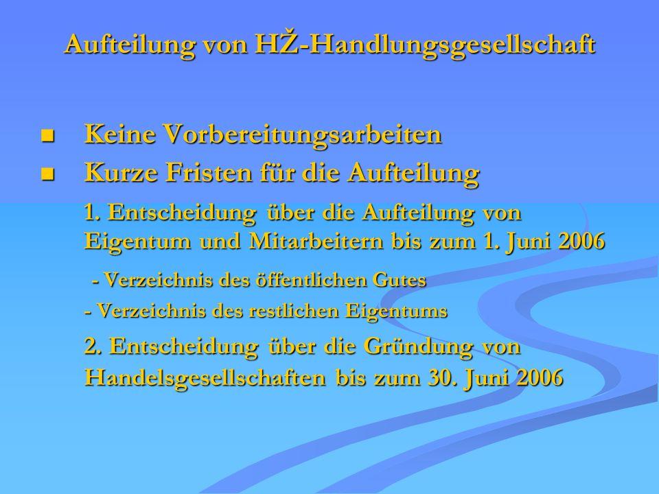 Aufteilung von HŽ-Handlungsgesellschaft Keine Vorbereitungsarbeiten Keine Vorbereitungsarbeiten Kurze Fristen für die Aufteilung Kurze Fristen für die