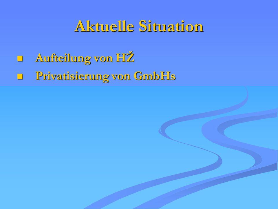 Aktuelle Situation Aufteilung von HŽ Aufteilung von HŽ Privatisierung von GmbHs Privatisierung von GmbHs