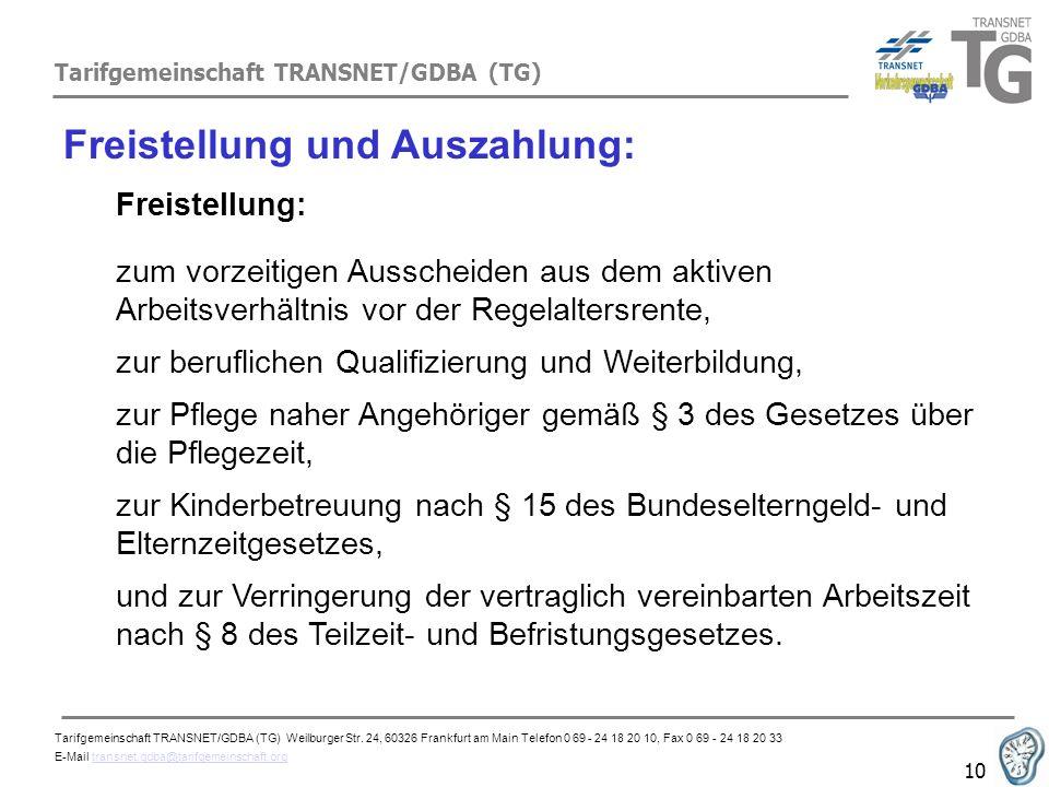 Tarifgemeinschaft TRANSNET/GDBA (TG) 10 Freistellung und Auszahlung: Freistellung: zum vorzeitigen Ausscheiden aus dem aktiven Arbeitsverhältnis vor d