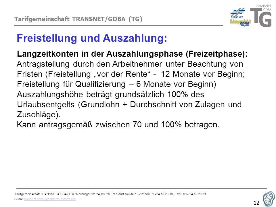 Tarifgemeinschaft TRANSNET/GDBA (TG) 12 Freistellung und Auszahlung: Langzeitkonten in der Auszahlungsphase (Freizeitphase): Antragstellung durch den