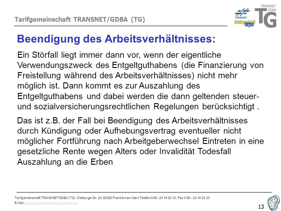 Tarifgemeinschaft TRANSNET/GDBA (TG) 13 Beendigung des Arbeitsverhältnisses: Ein Störfall liegt immer dann vor, wenn der eigentliche Verwendungszweck