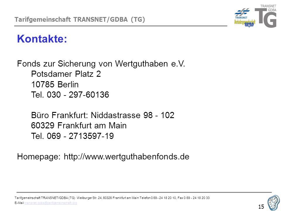 Tarifgemeinschaft TRANSNET/GDBA (TG) 15 Kontakte: Fonds zur Sicherung von Wertguthaben e.V. Potsdamer Platz 2 10785 Berlin Tel. 030 - 297-60136 Büro F