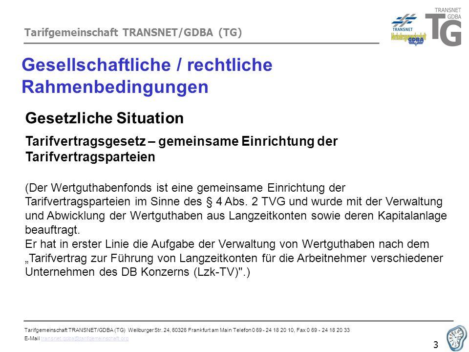 Tarifgemeinschaft TRANSNET/GDBA (TG) 3 Gesellschaftliche / rechtliche Rahmenbedingungen Gesetzliche Situation Tarifvertragsgesetz – gemeinsame Einrich