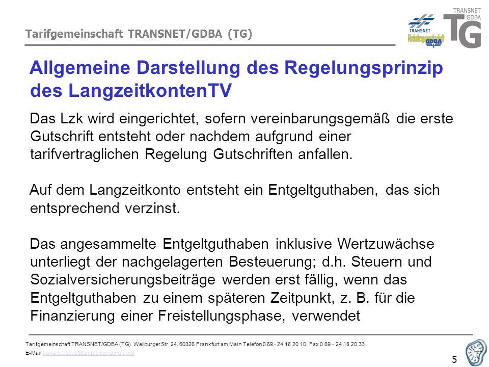 Tarifgemeinschaft TRANSNET/GDBA (TG) 6 Allgemeine Darstellung des Regelungsprinzip des LangzeitkontenTV Langzeitkonto dient der Abwicklung von zukünftigen Freistellungszeiten unter Fortzahlung von Arbeitsentgelt.