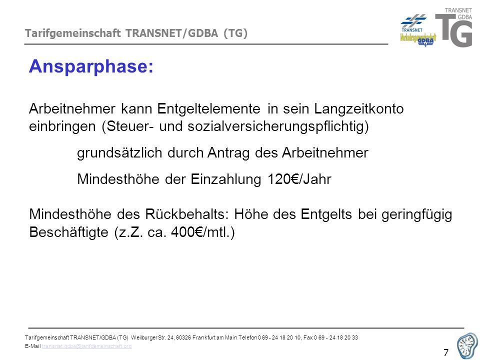 Tarifgemeinschaft TRANSNET/GDBA (TG) 7 Ansparphase: Arbeitnehmer kann Entgeltelemente in sein Langzeitkonto einbringen (Steuer- und sozialversicherung