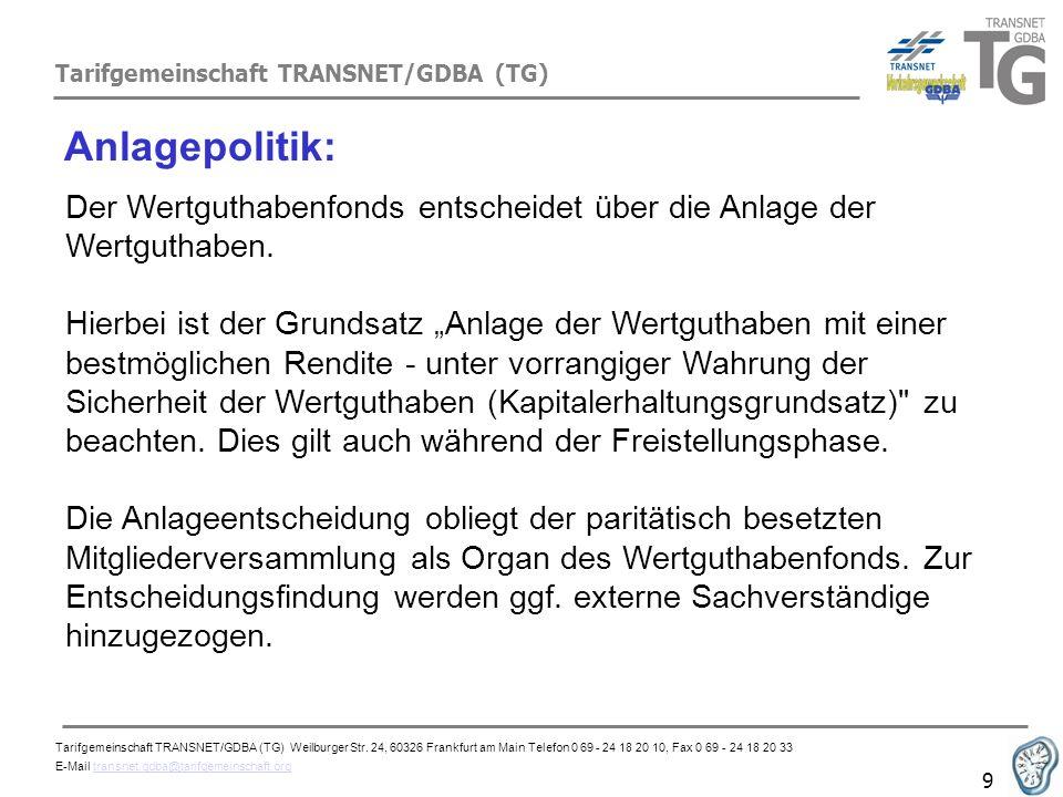 Tarifgemeinschaft TRANSNET/GDBA (TG) 9 Anlagepolitik: Der Wertguthabenfonds entscheidet über die Anlage der Wertguthaben. Hierbei ist der Grundsatz An