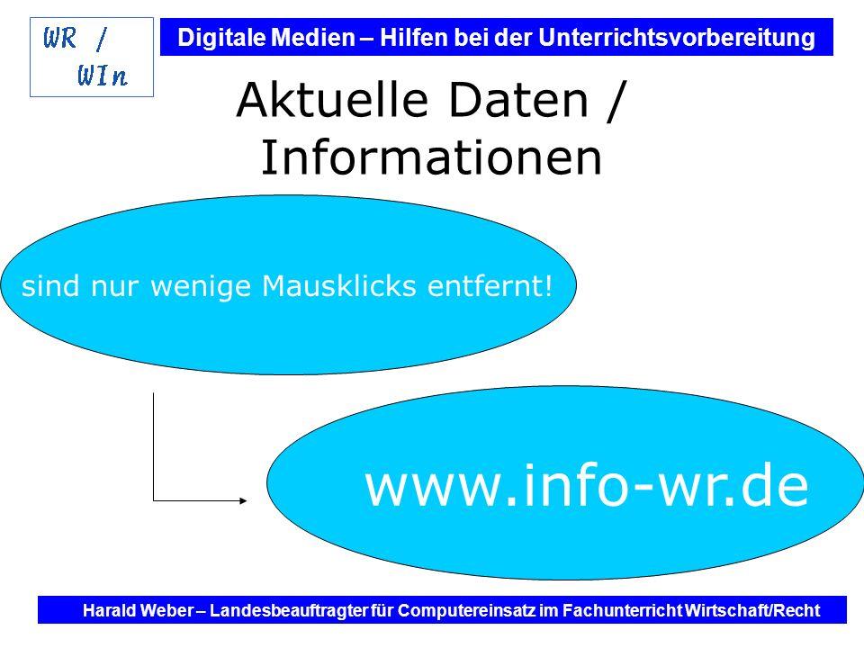 Digitale Medien – Hilfen bei der Unterrichtsvorbereitung Internet und Software - Hilfen bei der Unterrichtsvorbereitung im Fach Wirtschaft / Recht Harald Weber – Landesbeauftragter für Computereinsatz im Fachunterricht Wirtschaft/Recht