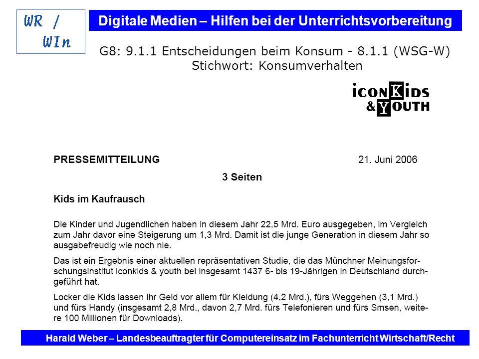 Digitale Medien – Hilfen bei der Unterrichtsvorbereitung Internet und Software - Hilfen bei der Unterrichtsvorbereitung im Fach Wirtschaft / Recht Harald Weber – Landesbeauftragter für Computereinsatz im Fachunterricht Wirtschaft/Recht G9: Kollegstufe Stichwort: Bilanz (BMW AG)