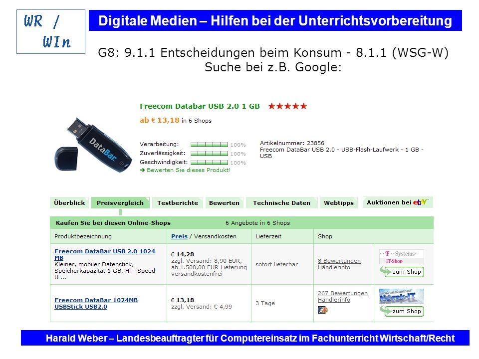 Digitale Medien – Hilfen bei der Unterrichtsvorbereitung Internet und Software - Hilfen bei der Unterrichtsvorbereitung im Fach Wirtschaft / Recht Harald Weber – Landesbeauftragter für Computereinsatz im Fachunterricht Wirtschaft/Recht G 8: 9.3.1 Das Rechungswesen als Grundlage unternehmerischen Handelns – WIn 8.3.2 (WSG-W) Stichwort: Inventar - Bilanz =summe(F19:F21) =Inventar!G21