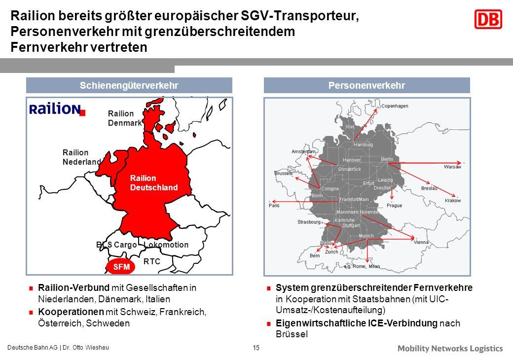 Deutsche Bahn AG | Dr. Otto Wiesheu 15 SFM RTC LokomotionBLS Cargo Railion Deutschland Railion Denmark Railion Nederland Railion bereits größter europ