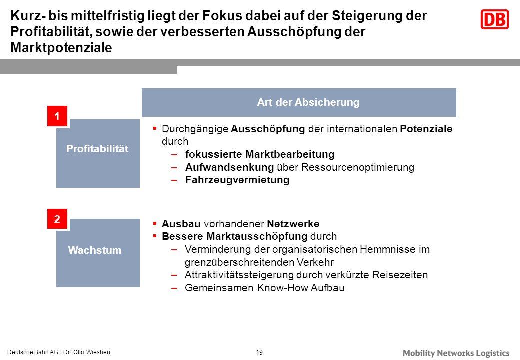 Deutsche Bahn AG | Dr. Otto Wiesheu 19 Kurz- bis mittelfristig liegt der Fokus dabei auf der Steigerung der Profitabilität, sowie der verbesserten Aus