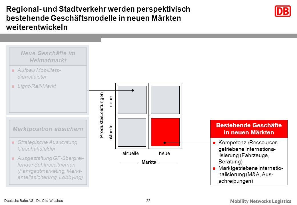 Deutsche Bahn AG | Dr. Otto Wiesheu 22 Regional- und Stadtverkehr werden perspektivisch bestehende Geschäftsmodelle in neuen Märkten weiterentwickeln