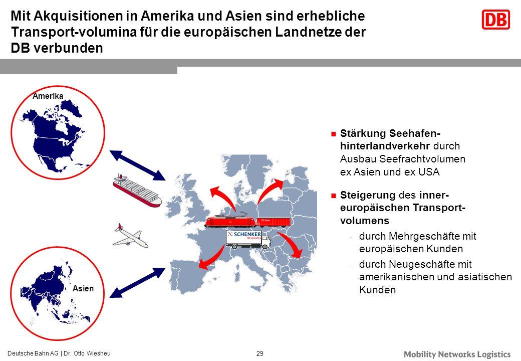 Deutsche Bahn AG | Dr. Otto Wiesheu 29 Mit Akquisitionen in Amerika und Asien sind erhebliche Transport-volumina für die europäischen Landnetze der DB