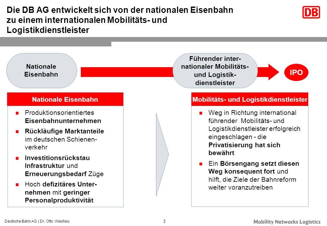 Deutsche Bahn AG | Dr. Otto Wiesheu 3 Weg in Richtung international führender Mobilitäts- und Logistikdienstleister erfolgreich eingeschlagen - die Pr