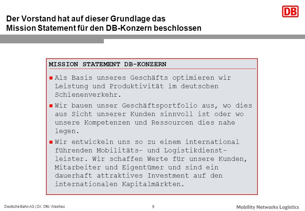 Deutsche Bahn AG | Dr. Otto Wiesheu 9 Der Vorstand hat auf dieser Grundlage das Mission Statement für den DB-Konzern beschlossen MISSION STATEMENT DB-