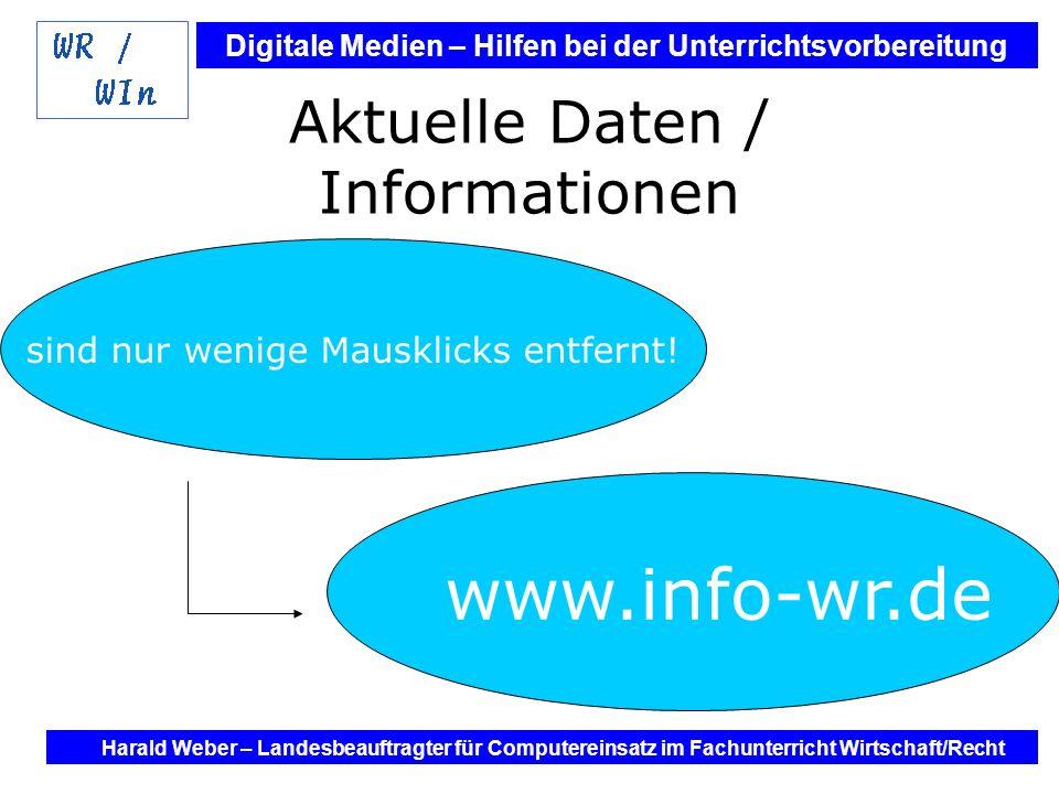 Digitale Medien – Hilfen bei der Unterrichtsvorbereitung Internet und Software - Hilfen bei der Unterrichtsvorbereitung im Fach Wirtschaft / Recht Harald Weber – Landesbeauftragter für Computereinsatz im Fachunterricht Wirtschaft/Recht Aktuelle Daten / Informationen sind nur wenige Mausklicks entfernt.