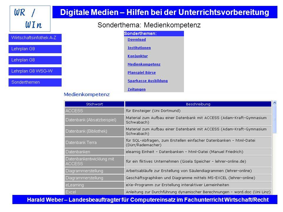 Digitale Medien – Hilfen bei der Unterrichtsvorbereitung Internet und Software - Hilfen bei der Unterrichtsvorbereitung im Fach Wirtschaft / Recht Harald Weber – Landesbeauftragter für Computereinsatz im Fachunterricht Wirtschaft/Recht Sonderthema: Medienkompetenz