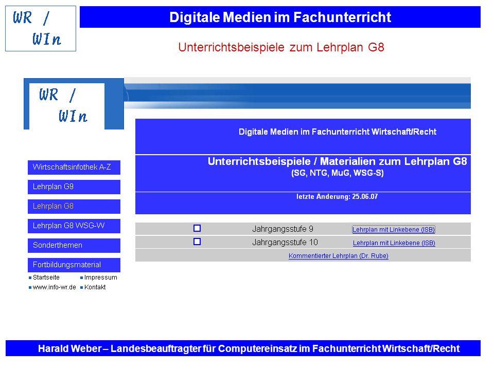 Digitale Medien im Fachunterricht Harald Weber – Landesbeauftragter für Computereinsatz im Fachunterricht Wirtschaft/Recht Unterrichtsbeispiele zum Le