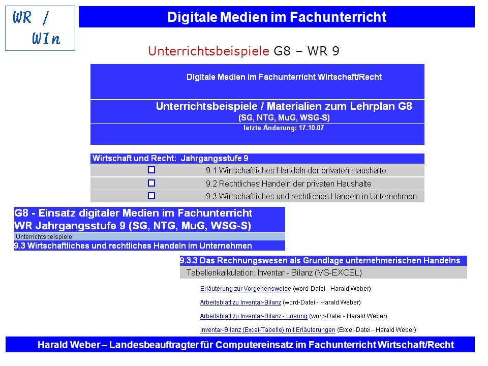 Digitale Medien im Fachunterricht Harald Weber – Landesbeauftragter für Computereinsatz im Fachunterricht Wirtschaft/Recht Unterrichtsbeispiele G8 – W