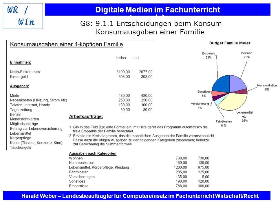 Digitale Medien im Fachunterricht Harald Weber – Landesbeauftragter für Computereinsatz im Fachunterricht Wirtschaft/Recht G8: 10.1.2 Unternehmen und private Haushalte in der Gesamtwirtschaft Grafikerstellung zu den Wirtschaftsbereichen
