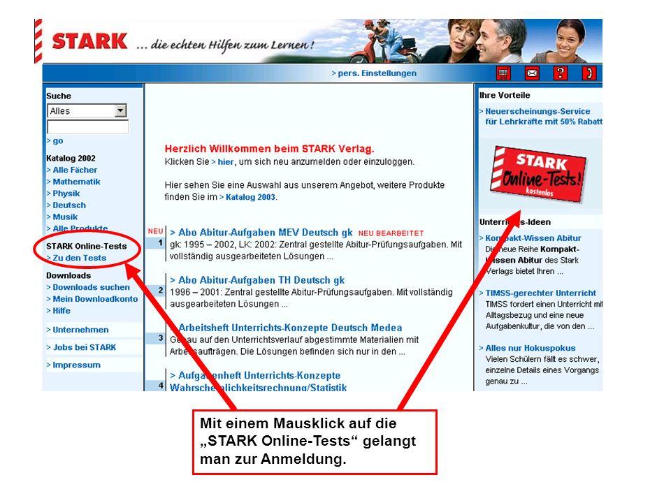 Mit einem Mausklick auf die STARK Online-Tests gelangt man zur Anmeldung.