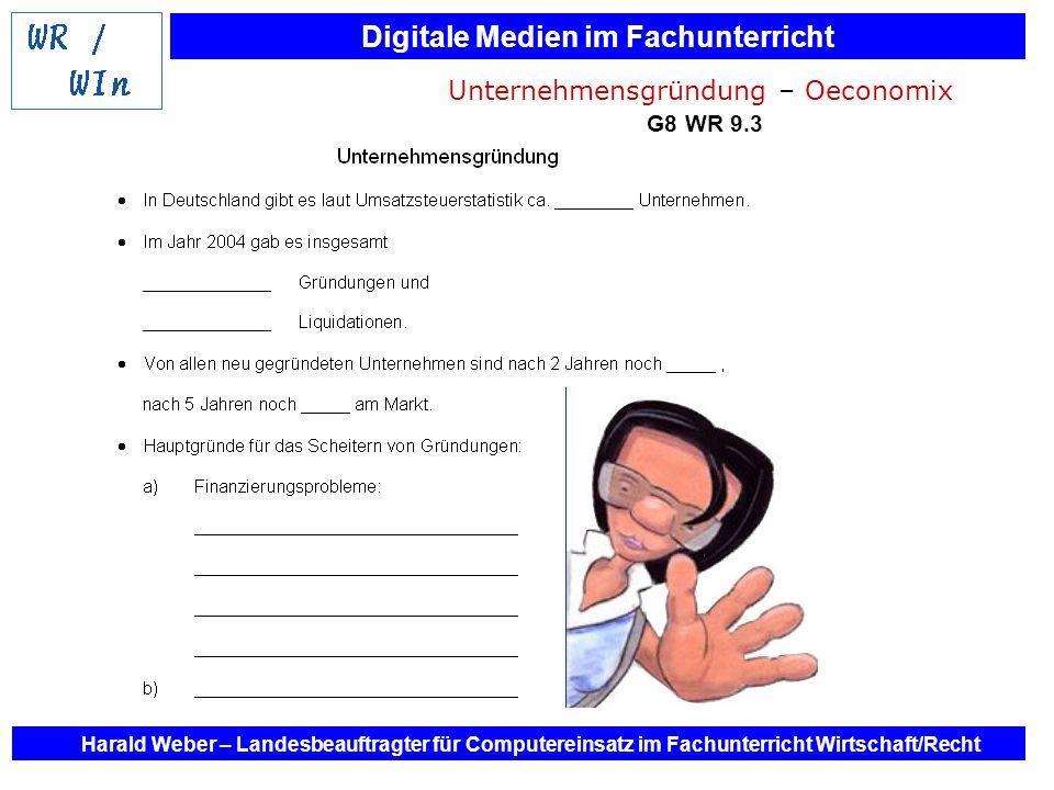 Digitale Medien im Fachunterricht Harald Weber – Landesbeauftragter für Computereinsatz im Fachunterricht Wirtschaft/Recht Unternehmensgründung – Oeco