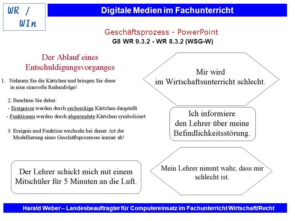 Digitale Medien im Fachunterricht Harald Weber – Landesbeauftragter für Computereinsatz im Fachunterricht Wirtschaft/Recht Geschäftsprozess - PowerPoi