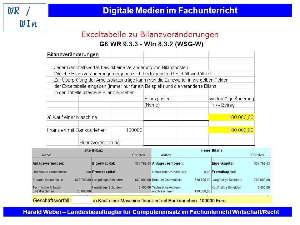 Digitale Medien im Fachunterricht Harald Weber – Landesbeauftragter für Computereinsatz im Fachunterricht Wirtschaft/Recht Exceltabelle zu Bilanzverän