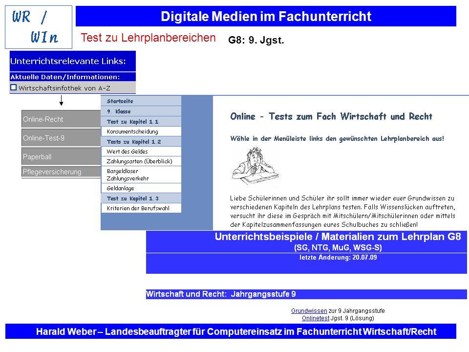 Digitale Medien im Fachunterricht Harald Weber – Landesbeauftragter für Computereinsatz im Fachunterricht Wirtschaft/Recht G8: 9. Jgst. Test zu Lehrpl