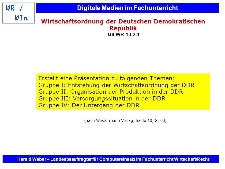 Digitale Medien im Fachunterricht Harald Weber – Landesbeauftragter für Computereinsatz im Fachunterricht Wirtschaft/Recht Wirtschaftsordnung der Deut
