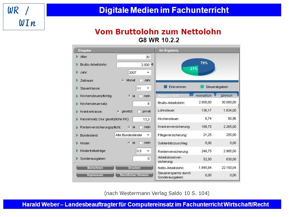 Digitale Medien im Fachunterricht Harald Weber – Landesbeauftragter für Computereinsatz im Fachunterricht Wirtschaft/Recht Vom Bruttolohn zum Nettoloh