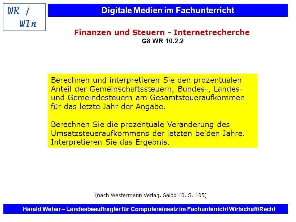 Digitale Medien im Fachunterricht Harald Weber – Landesbeauftragter für Computereinsatz im Fachunterricht Wirtschaft/Recht Finanzen und Steuern - Inte
