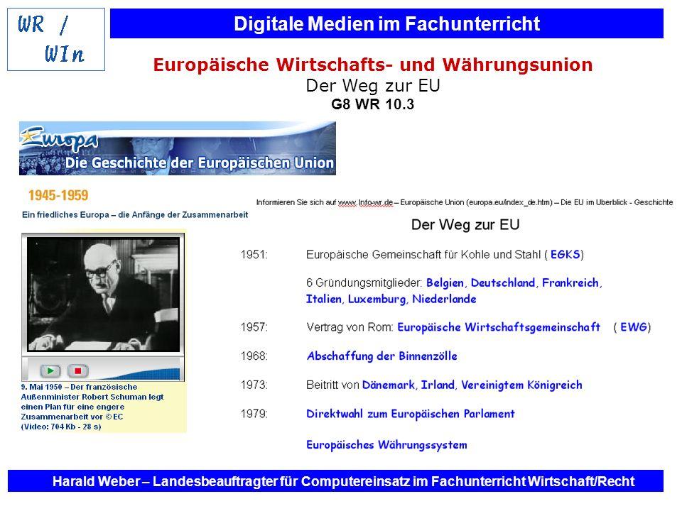 Digitale Medien im Fachunterricht Harald Weber – Landesbeauftragter für Computereinsatz im Fachunterricht Wirtschaft/Recht Europäische Wirtschafts- un