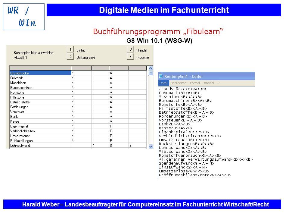 Digitale Medien im Fachunterricht Harald Weber – Landesbeauftragter für Computereinsatz im Fachunterricht Wirtschaft/Recht Buchführungsprogramm Fibule