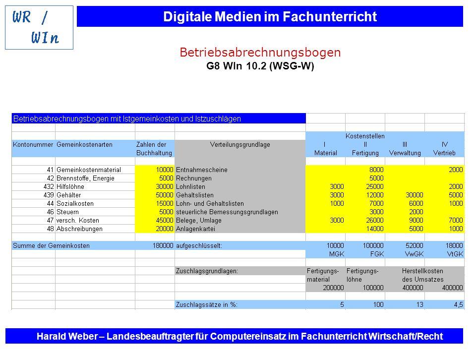 Digitale Medien im Fachunterricht Harald Weber – Landesbeauftragter für Computereinsatz im Fachunterricht Wirtschaft/Recht Betriebsabrechnungsbogen G8
