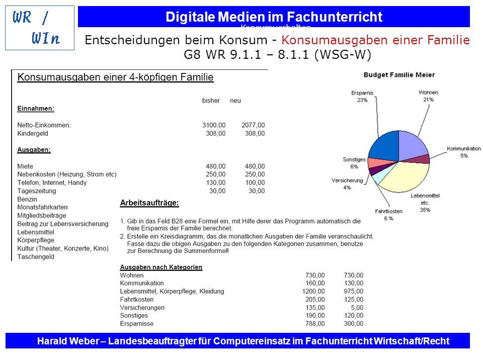 Digitale Medien im Fachunterricht Harald Weber – Landesbeauftragter für Computereinsatz im Fachunterricht Wirtschaft/Recht Konsumverhalten Entscheidun