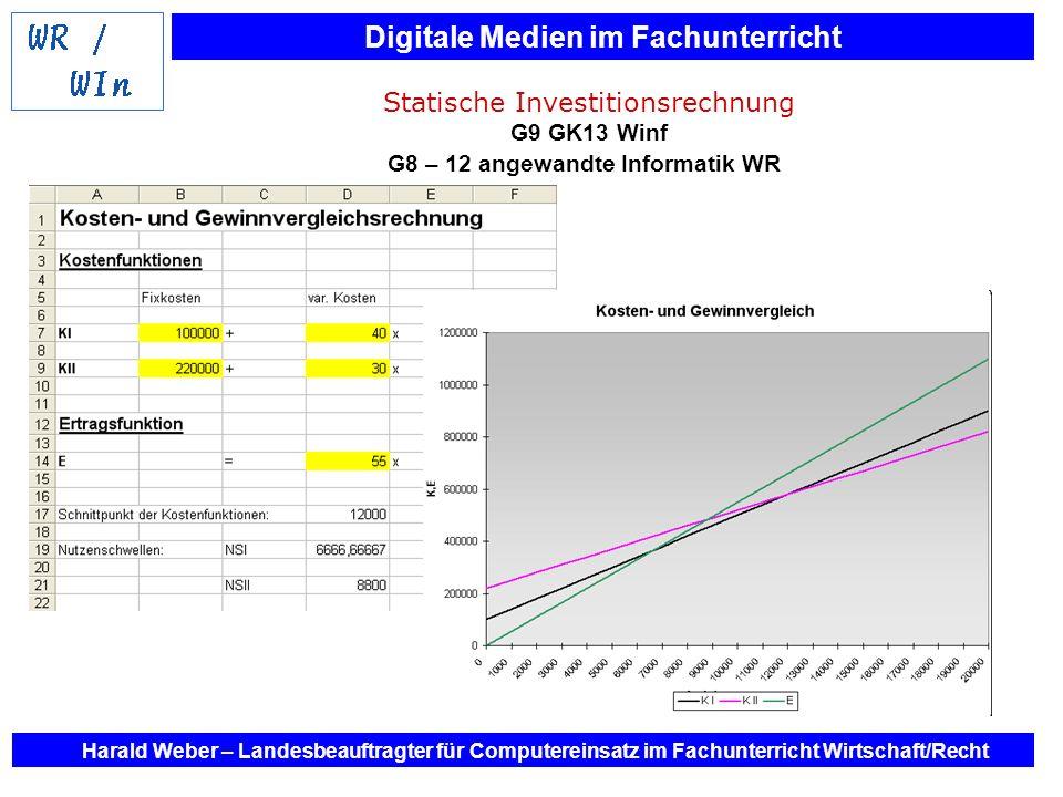 Digitale Medien im Fachunterricht Harald Weber – Landesbeauftragter für Computereinsatz im Fachunterricht Wirtschaft/Recht Statische Investitionsrechn