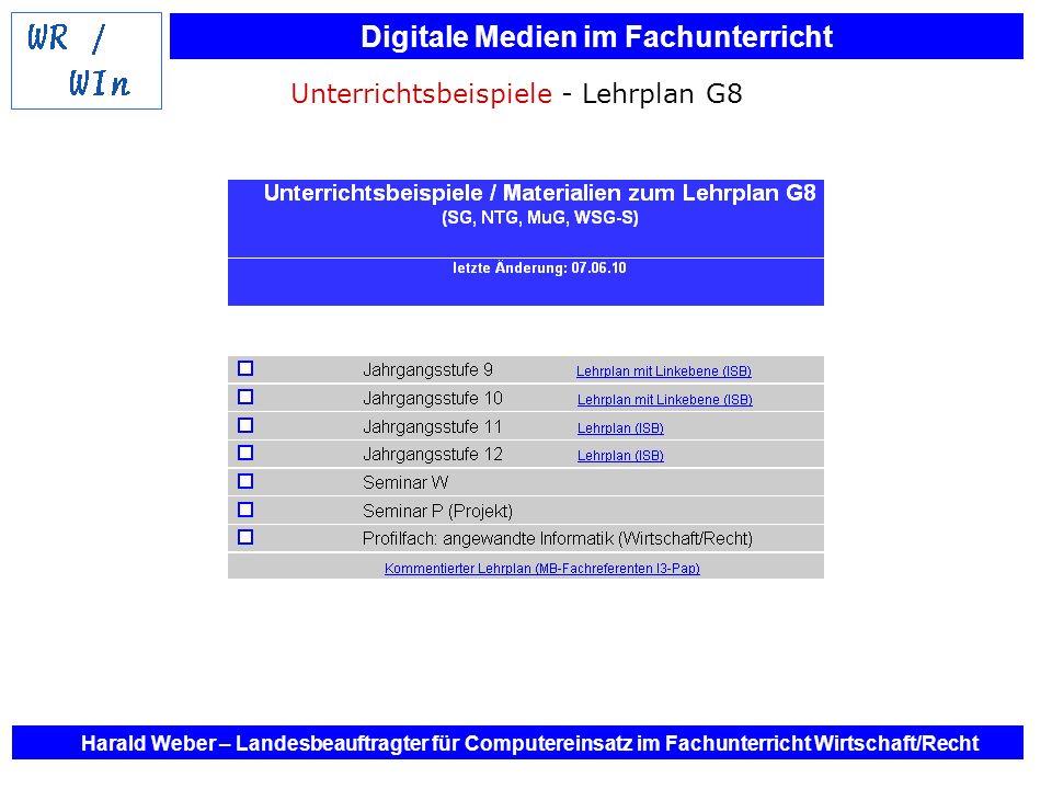 Digitale Medien im Fachunterricht Harald Weber – Landesbeauftragter für Computereinsatz im Fachunterricht Wirtschaft/Recht Unterrichtsbeispiele - Lehr