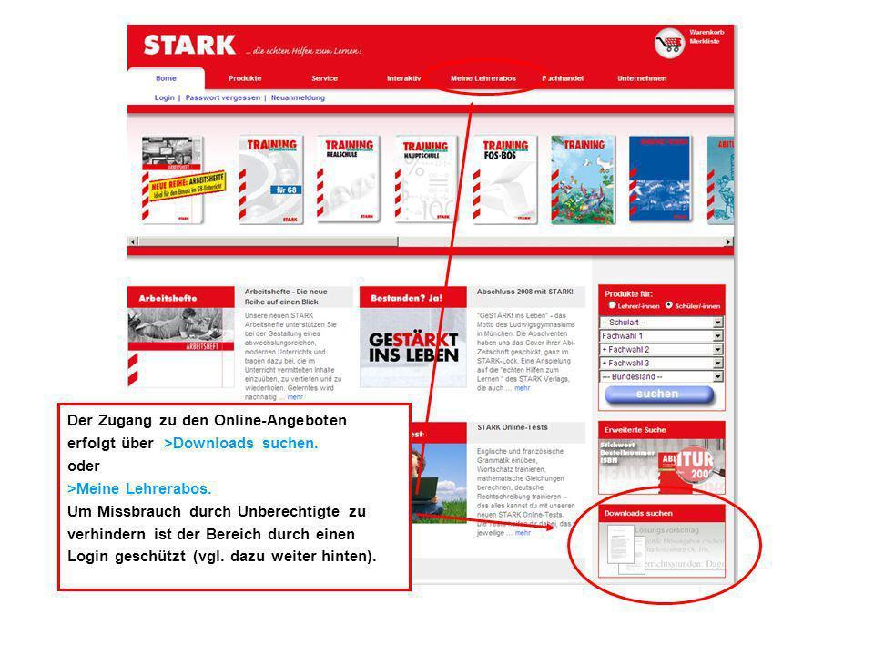 Der Zugang zu den Online-Angeboten erfolgt über >Downloads suchen.