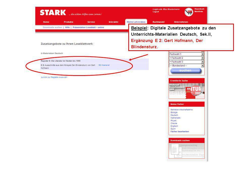 Über >Downloads gelangen Sie zur Suche über Ihre Loseblattsammlung.
